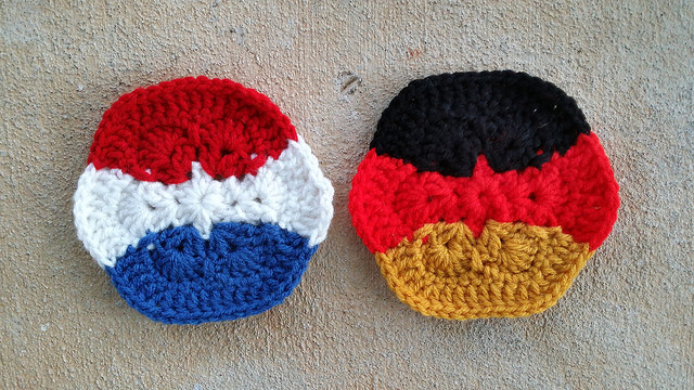 Two horizontal stripe crochet hexagons for a crochet soccer ball celebrating the 2014 world cup