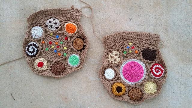 crochet cookies for a crochet bag