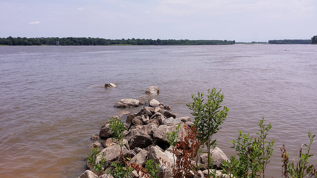 The confluence of the Missouri and Mississippi Rivers, crochetbug, illinois, missouri