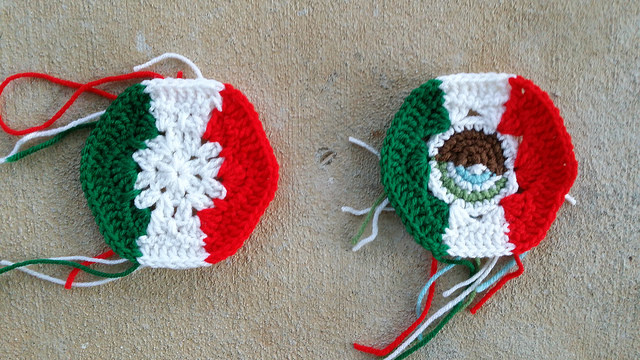 Crochet soccer ball hexagons inspired by the flags of Italy and Mexico