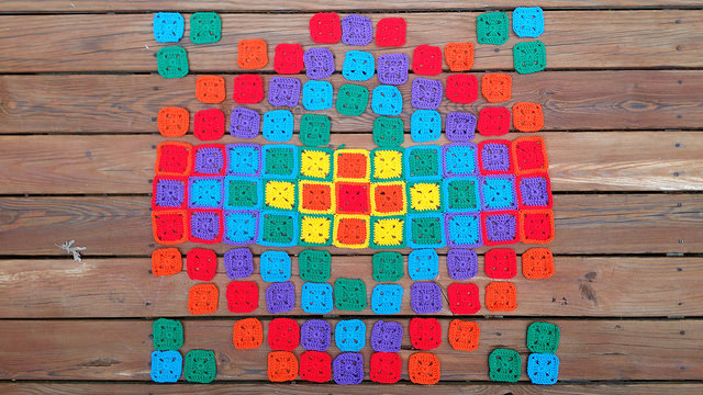 crochet squares at sunset
