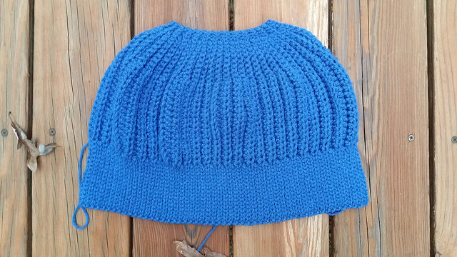 A blue suede seafarer's cap-to-be made during stash down 2014