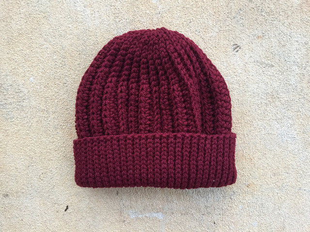 A claret seafarer's crochet cap for Robert that I made shortly before he was at rest