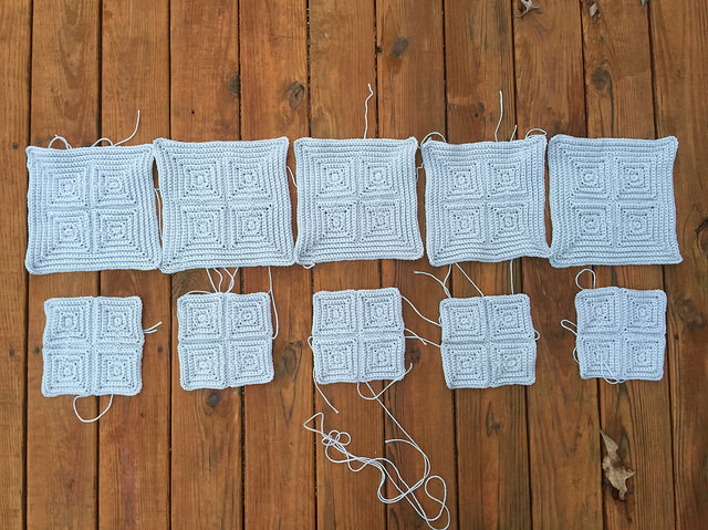 One view of the gray crochet squares that are outside my comfort zone