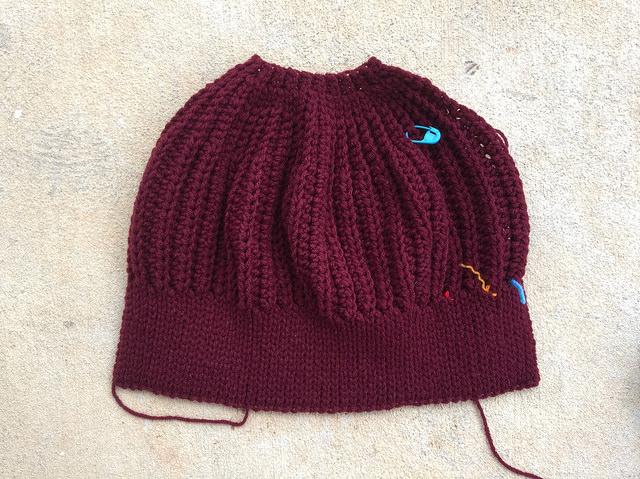 Claret seafarer's crochet cap number nine