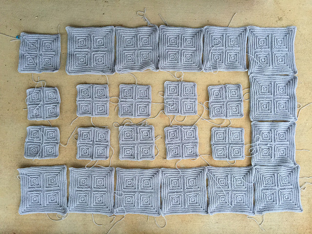 My progress picking up the pieces of the textured crochet squares on January 13, 2015