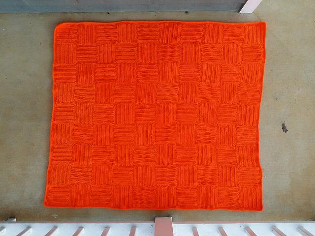 orange crochet throw