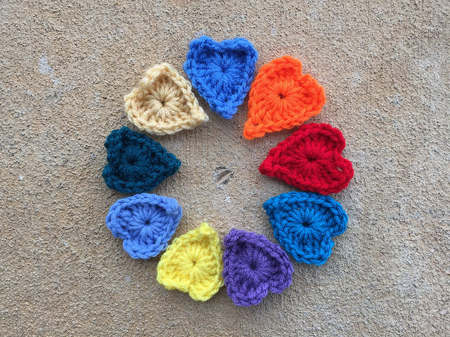 boho crochet heart centers