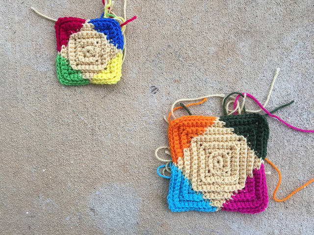 multicolor textured crochet squares