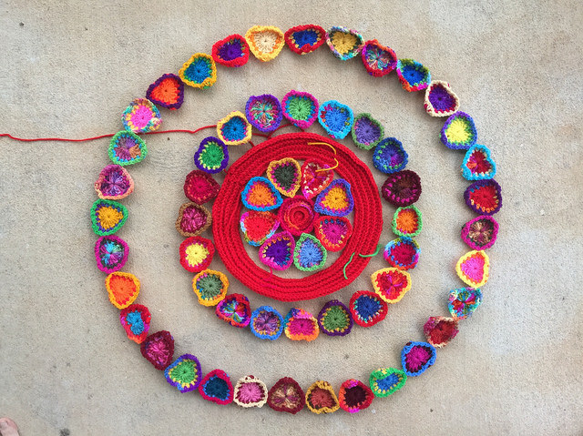 boho crochet hearts arranged in concentric circles