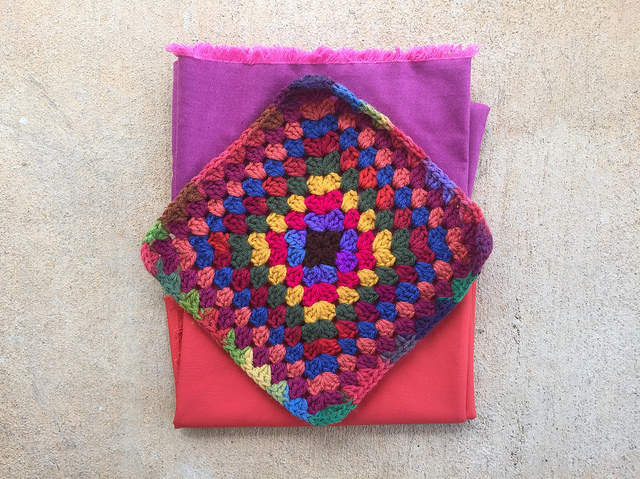 granny square and fabric