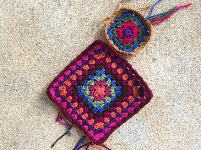 two crochet granny squares