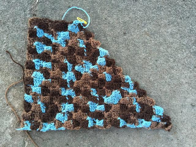 crochetbug, c2c, corner to corner crochet, variegated yarn, yarn stash, crochet shelf liner