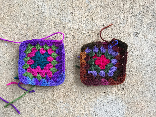 two psychedelic crochet granny squares