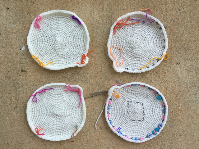 four crochet circle motifs