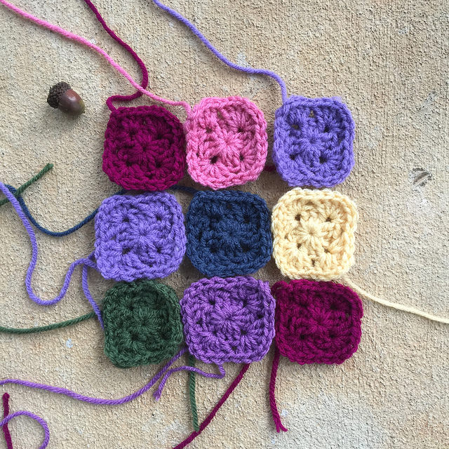 nine two-round granny squares