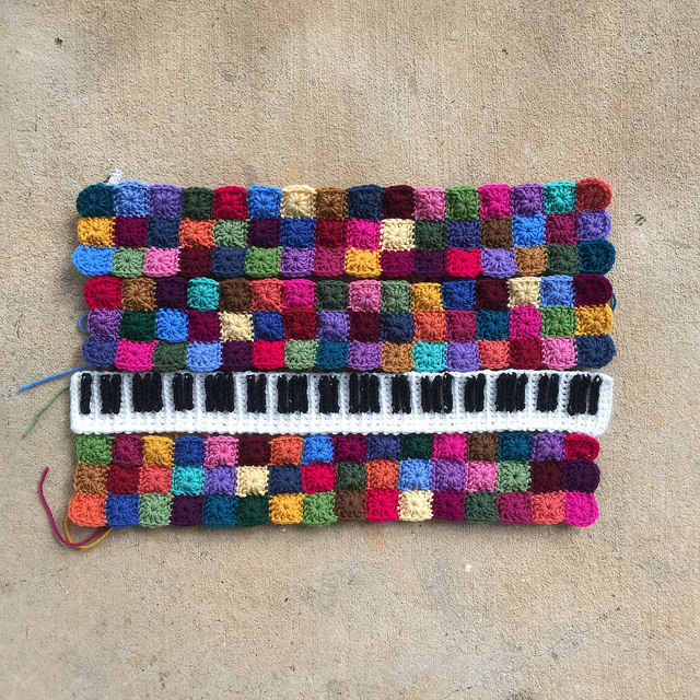 The nearly assembled crochet piano panel with thirteen days left until the state fair deadline