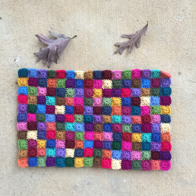 A panel composed of 176 little granny squares for my now 2016 state fair project