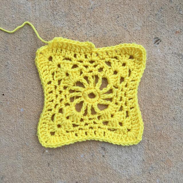 yellow crochet square