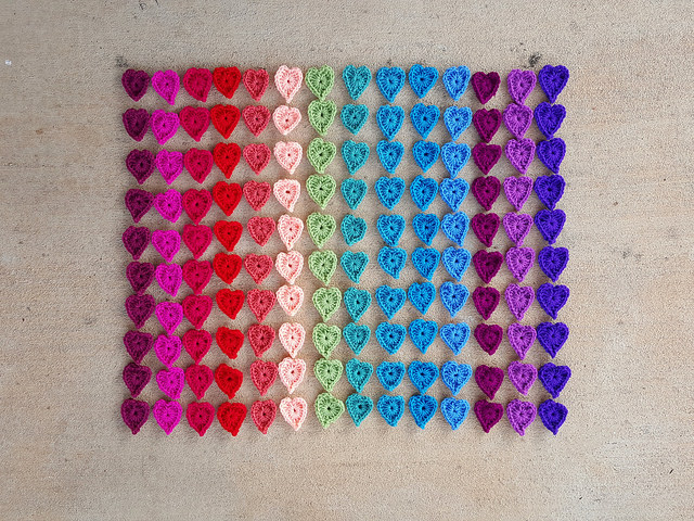 crochet heart centers
