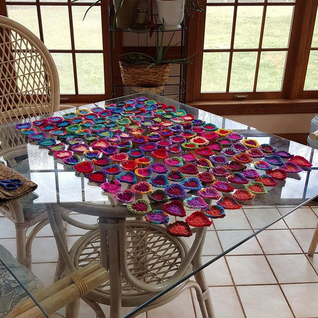 140 boho crochet hearts