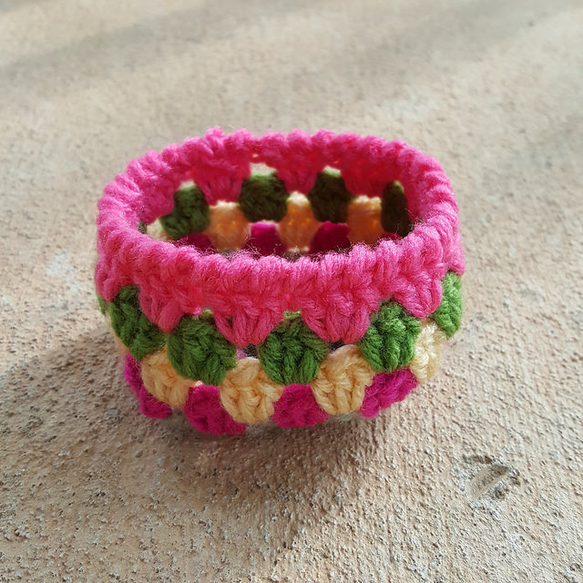 A small crocheted basket ready to be soaked in glue as I digress still further
