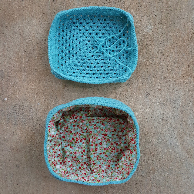 The top and bottom of the crochet lunchbox-to-be