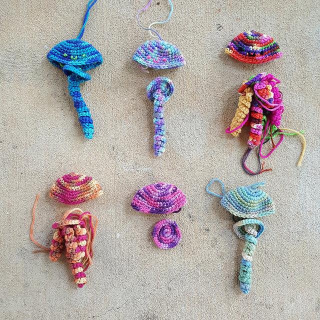 bloom of crochet jellyfish