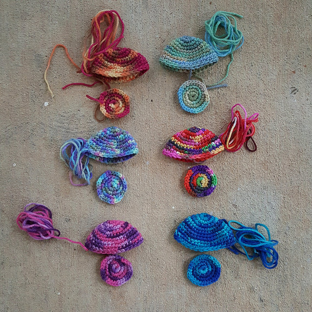 six crochet jellyfish
