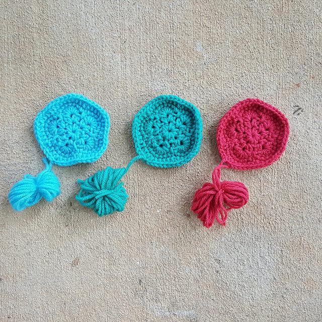 three crochet pentagon motifs for a crochet soccer ball