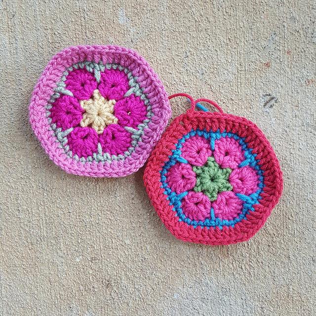 two african flower crochet hexagon motifs for a crochet soccer ball