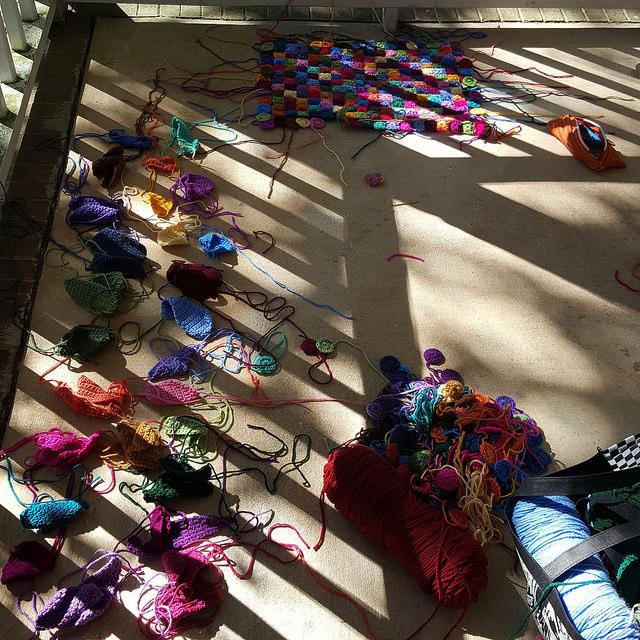 plein air crochet piecing