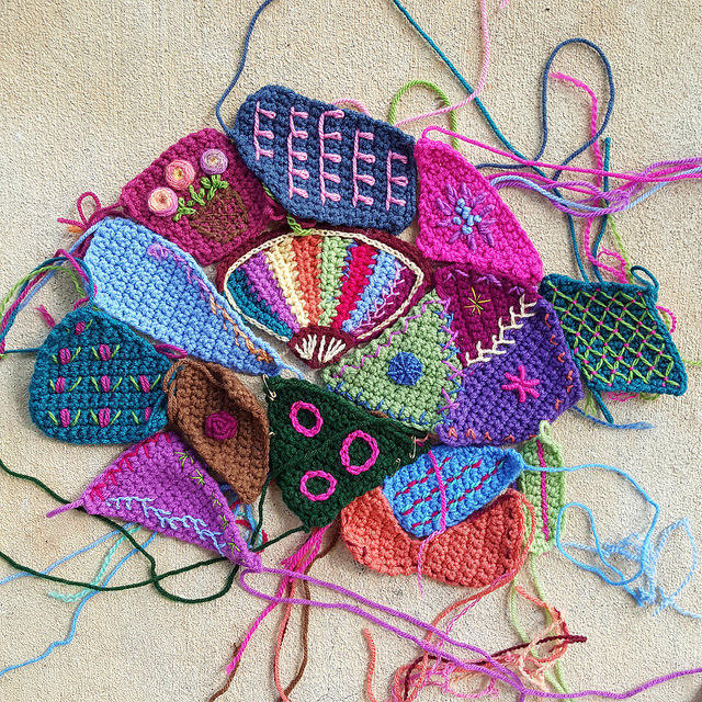 embroidery on crochet for a crazy quilt