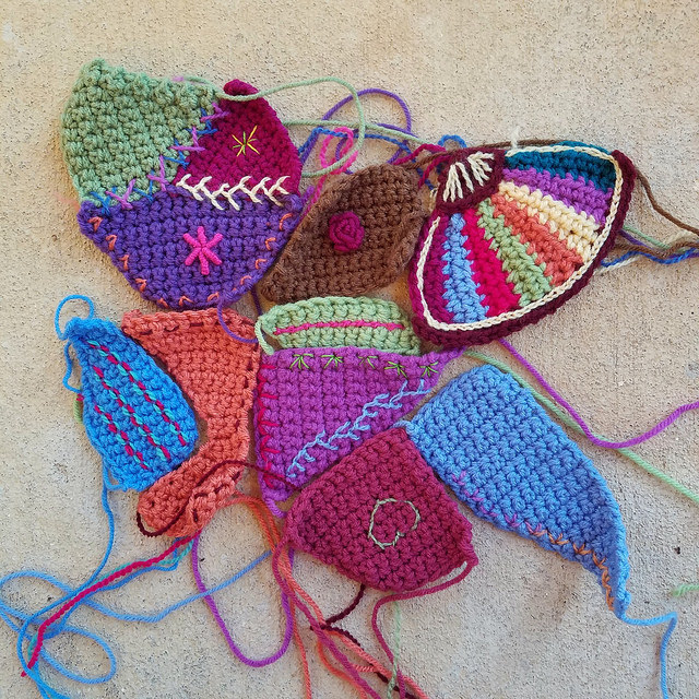embroidery on crochet crazy quilt pieces