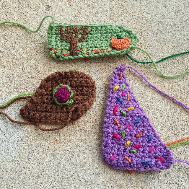 crochet crazy quilt pieces with more embroidery