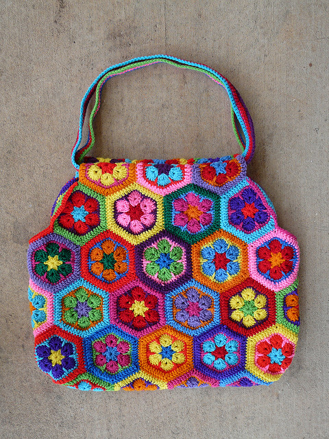 crochet hexagons bag