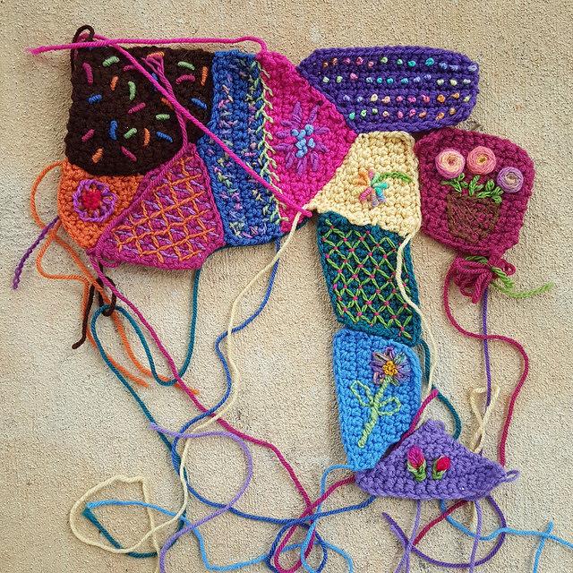 center embroidered crochet panel