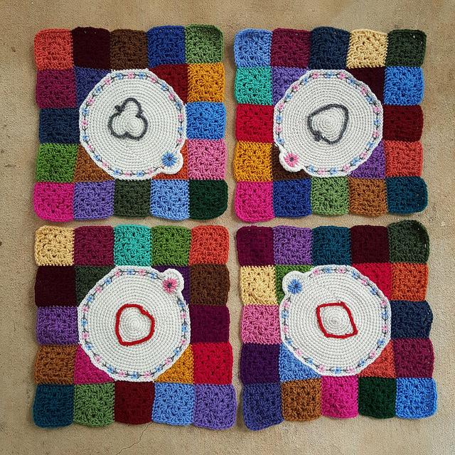Four crochet corners with tambour crochet, crochetbug, crochet circles, suit pips, granny squares, crochet squares