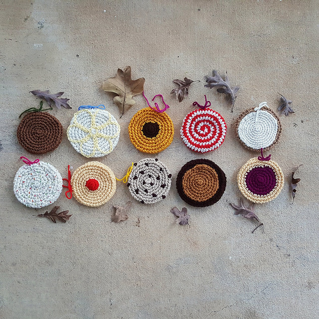 Then thirteenths of the crochet cookies needed for a scarf playing in the leaves