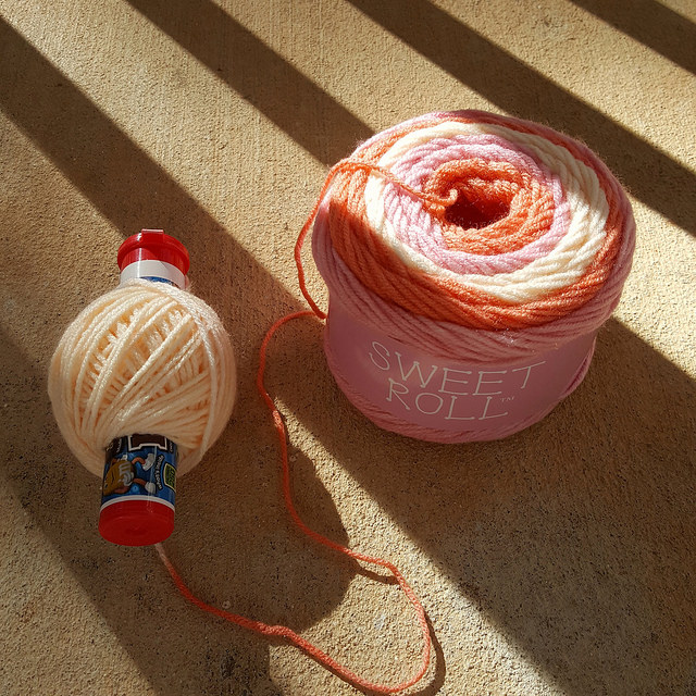 winding yarn on a nostepinne