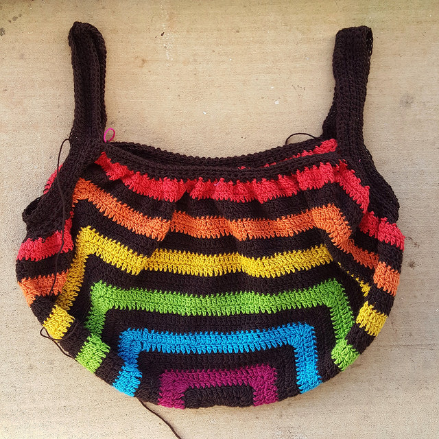 wool crochet granny square fat bag to be felted