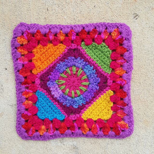 multicolor crochet granny square with the ends woven in
