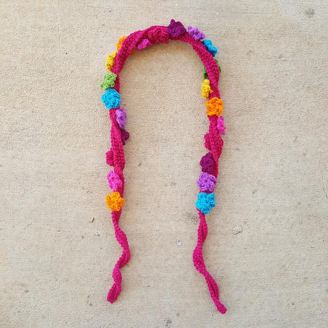 flower festooned crochet strap