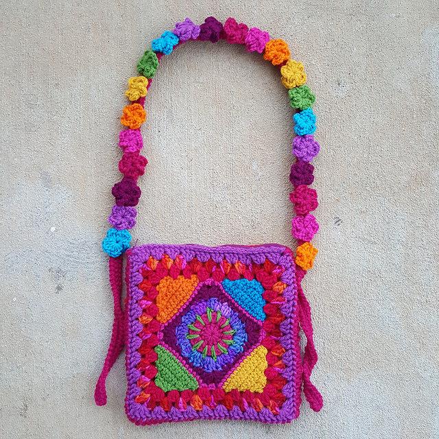 granny square purse, five petal crochet flowers, crochetbug, crochet purse, crochet tote, granny square purse, rainbow is a color