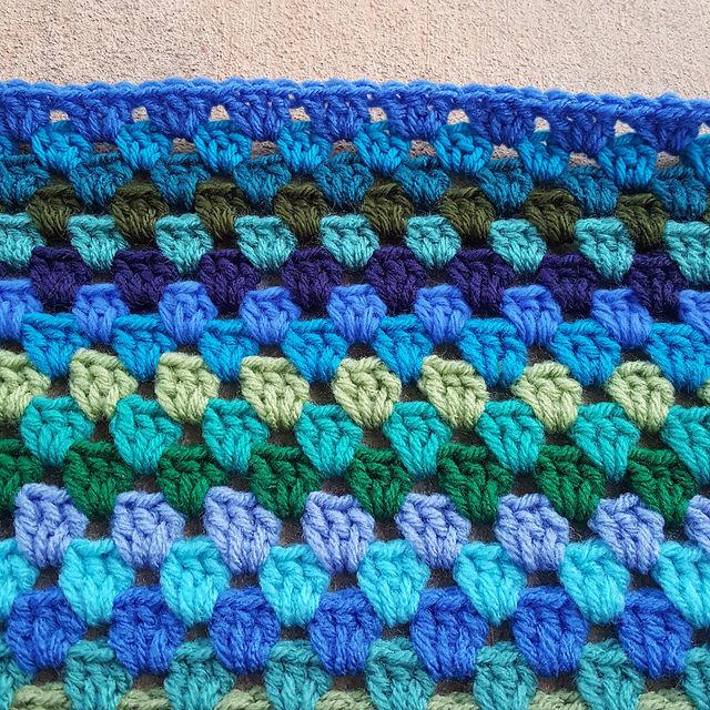 A blue crochet edge