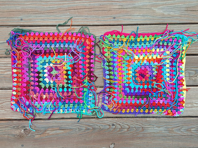 two scrap yarn granny squares