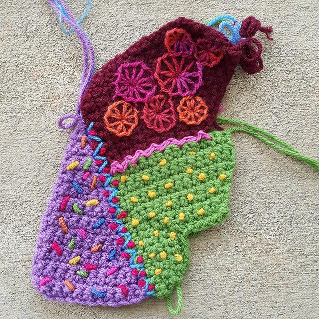 crochetbug, crochet crazy quilt pieces, embroidery on crochet, crochet blanket, crochet afghan, crochet throw, narrative crochet