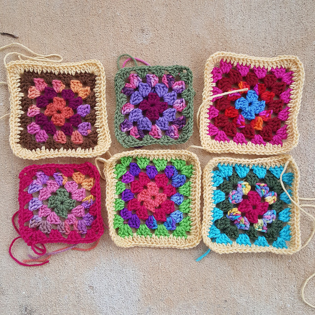assorted multicolor granny squares for the roseanne reboot crochet afghan