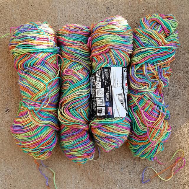 crochetbug, crochet, crocheted, crocheting, red heart super saver, red heart yarn, pinata, variegated yarn