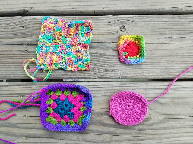 Four crochet remnants unearthed on my crochet journey